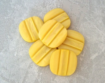 Yellow Coat Buttons 29mm - 1 1/8 inch Carved Retro Stripe Lemon Yellow Rounded Square - Buttercup Yellow Vintage Buttons PL005