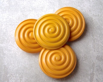 Golden Yellow Buttons, 31mm 1-1/4 inch - Carved Yellow Nautical Spiral Buttons - 4 NOS Grooved Glossy Yellow Swirl Plastic Buttons PL453