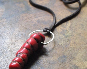 Natural Red Coral and Fine Silver Pendant on Suede Cord - Rustic Jewelry - Boho Chic - Yoga Jewelry - Bright Red - Unisex -