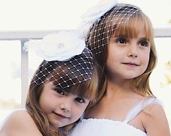 Flower Girl - Junior Bridesmaid Hair Flower with Detachable Veil - choose your own color