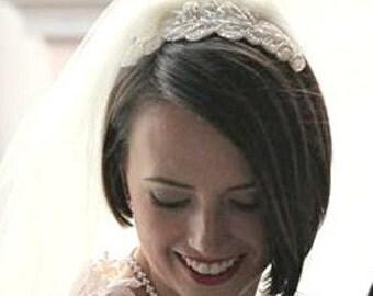 Hand-Beaded bridal headband, white and ivory hair accessory - headpiece - MADE TO ORDER