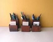 Industrial Salvage pencil cup card holder, metal desktop organizers, upcycled desktop set, office home desk accessories, office countertop