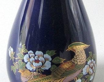 Vintage Vase Oriental Cobalt Blue Bird Paradise Pheasant Gold Floral Japan Flower Planter