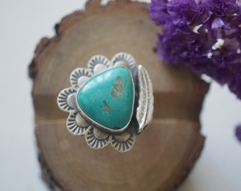 Pilot Mountain Turquoise Ring in Sterling Silver Handmade Size 7 us