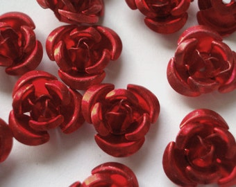 10 Pieces 11mm Red Aluminum Rose Beads Aluminum Flower Beads Jewelry Beads