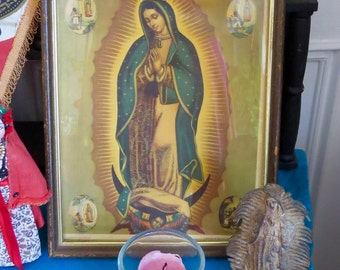 Vintage Mexican Original Chromo Our Lady Guadalupe  Framed Print- Perfect for your altar