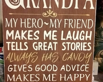 Primitive Sign Grandpa My Hero My Friend Subway Art Typography Wooden Sign Father's Day Customized Papa Dad