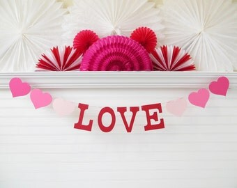 Love Banner - 5 inch Letters with Hearts - Love Garland Bridal Shower Banner Heart Banner Heart Decoration Photo Prop Valentines Day Banner