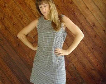 Sleeveless Gingham Mini Shift Dress - Vintage 90s - S M