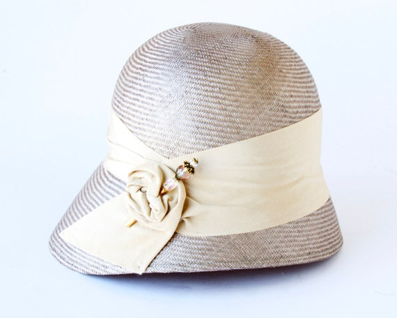 Straw Cloche Hat Women's Hat Spring Fashion Summer 1920s Style Taupe Cloche Hat Custom Hat Millinery Straw Hat Spring Hat Kentucky Derby Hat