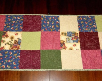 Quilted Table Runner, Table Decor, Americana Patriotic, Sale Priced, Table Topper, Teddy Bear's Picnic, 16x37 inches,  Machine Quilted