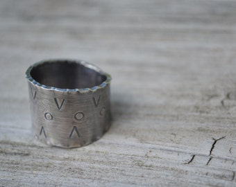 Sterling Silver Cigar Band Ring, Wide Ring, Forged Size 9