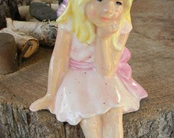 Fairy  miniature Girl - handmade ceramic garden fairie fae  for your miniature gardens - safe outside Sitting Glazed