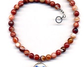 RESERVED Carnelian Onyx Necklace, Porcelain Jewelry, Handmade Jewelry by AnnaArt72