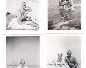 9 vintage Photo Lot Beach Swimsuit Women Men 1951 1952 snapshots