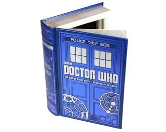 Doctor Who Handmade Hollow Book Box Secret Stash Booksafe Blue Silver Premium Birthday Gift Black Velvet Lined Box - READY TO SHIP