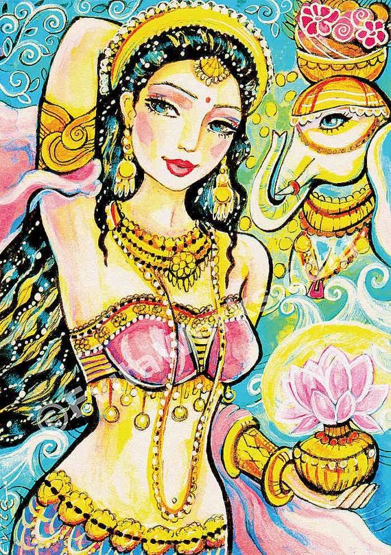 Lakshmi, Indian goddess art, painting, illustration, Indian woman, Indian decor, feminine decor, beauty painting, 8x11+