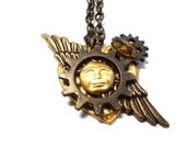 Steampunk Style Icarus Icon Daedalus Heart One of a Kind Assemblage Pendant