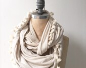 Ivory Infinity Scarf with Fringe, Boho Fashion Scarf