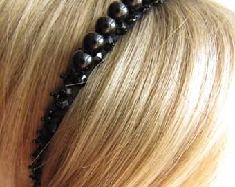 Jet Black Pearl Headband Swarovski Headband Gothic Headband Goth Headpiece Goth Headband