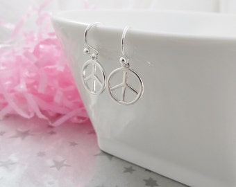 Peace Symbol Earrings - Sterling Silver - Round Dangle Earrings -CND Symbol -  Made in Canada Jewelry- Gracie Jewellery