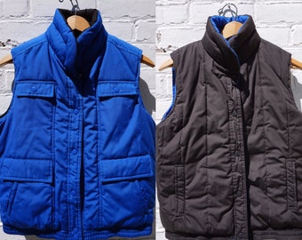 1980s Puffy Vest Reversible Black Blue   Small/Medium
