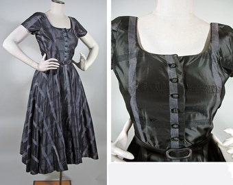 Vintage 1950s Charcoal, Silver and Black New Look Party Dress SZ S