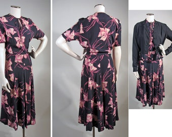 1940s Vintage Print Rayon Dress and Jacket in Navy & Pink Sz M