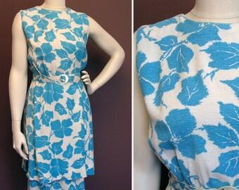 1950s Vintage White and Aqua Rayon Print Dress SZ M