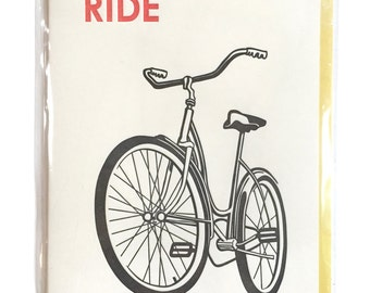 Bike Card, Letterpress card, Dad Card, Bike Card, Blank Greeting Cards, Handmade Birthday Card, Ride a BIKE cards, Card for Him, blank cards