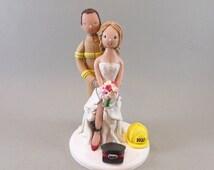 Cake Toppers - Policewoman & Firefighter Custom Handmade Wedding Cake Topper