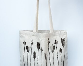 ARROWS- Eco-Friendly Market Tote Bag - Hand Screen printed (Ships FREE!)