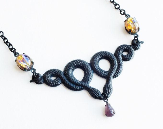 Snake Necklace Black Brass Serpent Art Nouveau Double Snake Pendant Black Snake Jewelry Black Metal Necklace
