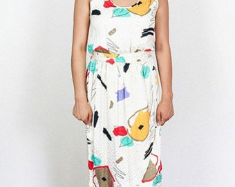 Patterned Silk 80's Day Dress