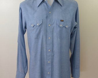 Vintage DEE CEE Western Cowboy shirt USA made chambray sawtooth pockets sz. 16-36