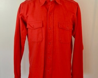 Vintage DEER SKIN Cotton Chamois Cloth Shirt long sleeve RED made in usa large tall