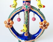 TREE Of LIFE CANDLE Holder Single Mexico Vintage Birds Floral Dangling Fruit Colorful Folk Art Mexican Pottery Hand Made