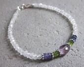 Dainty moonstone bracelet, tanzanite amethyst peridot bracelet, chic stone bracelet, dainty stone bracelet, multi gemstone stacking bracelet