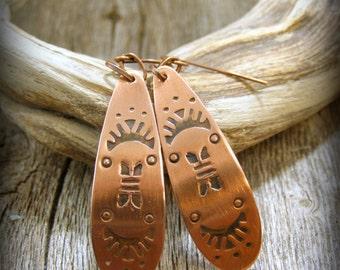 Copper Earrings, Native American, Stamped Earrings, Tribal Earrings, Southwest Jewelry, Silversmith Earrings, Bohemian Earrings, Metalsmith