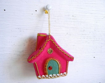 Vintage Christmas Flocked Cottage Ornament | Pink Christmas Ornament