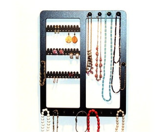 Earring holder, Wooden earring and necklace rack, combination neclace earring rack with pegs