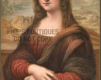 Mona Lisa, Leonardo Da Vinci Antique Postcard Museum Lithograph (Unused)