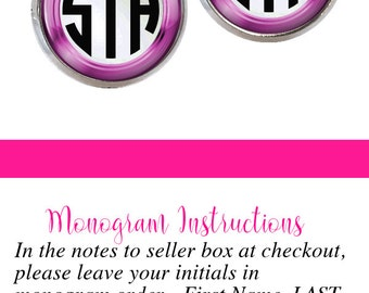 Pink Monogram Stud Earrings, Monogram Earrings, Monogram Jewelry (363)