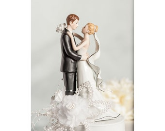 White and Silver Silk Rose Pearl Accent Wedding Cake Topper - Custom Painted Hair Color Available - 106063