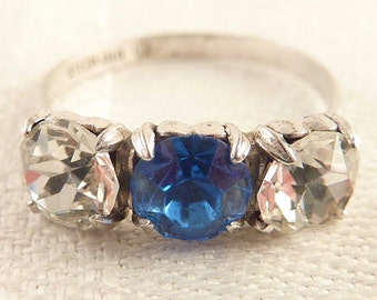 Antique Victorian Size 7 White and Blue Paste Gemstone Sterling Ring by H. Wexel & Co