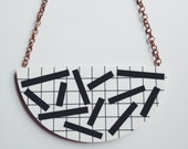 Statement Necklace - 'Dash' - Monochrome