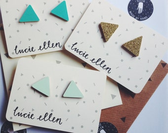 Stud Earrings Geometric Triangle - Choose Your Colours