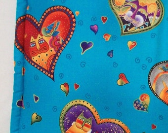"Blue Catnip Pillow Bed -  Turquoise Rectangular Cat Mat Made with Laurel Burch Fabulous Felines Cats and Friends Fabric 14""x20"""