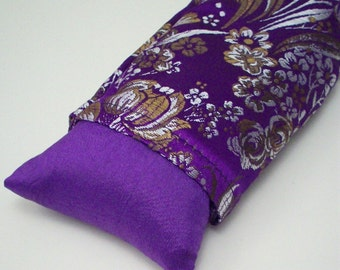 Purple Eye Pillow  Flax Seed  - with Lavender or Unscented - Silver and Gold Brocade Flowers - Cold Therapy - Yoga Eye Mask