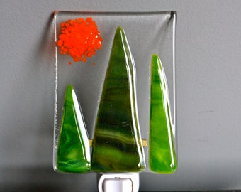 Evergreen Forest Fused Glass Nightlight